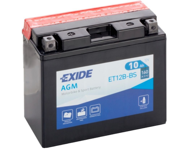 Exide Bike AGM 12V 10Ah 160A ET12B-BS
